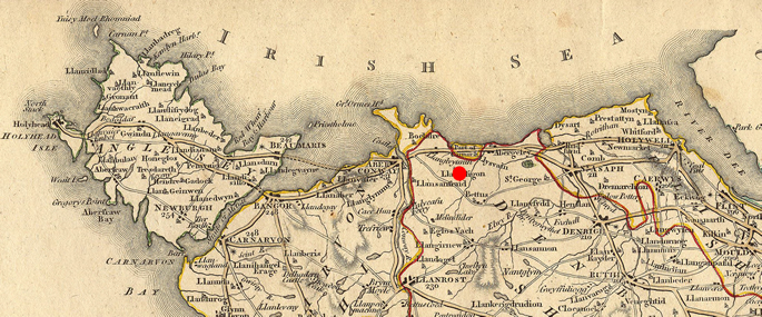 Map Showing Position of Llanelian yn Rhos
